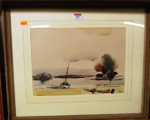 Rowland Suddaby (1912-1972) - Oyster boats near Maldon, watercolour, signed lower right, 27 x