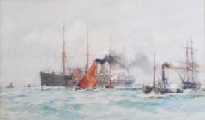 Charles Edward Dixon (1872-1934) - Steamliner setting sail with attendant tug-boats, watercolour