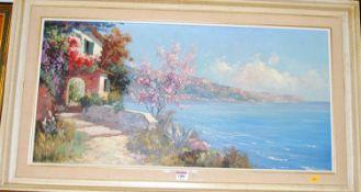 Mid-20th century school - Coastal scene in summer, oil on canvas, indistinctly signed lower left, 39
