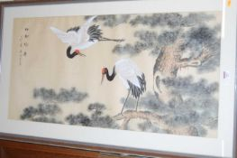 20th century Chinese watercolour on silk, with studio seal, 50 x 100cm