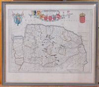 Johannes Blaeu - Nortfolcia, Norfolk, Amsterdam, 1648, engraved county map with later hand-