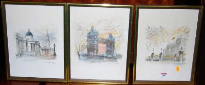 London landmarks - a set of four prints, Newmarket clock tower, print and one other (6)
