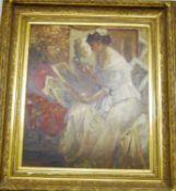 After Fernand Toussaint, Boudoir scene, oil on canvas, 60 x 50cm