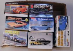 Seven various boxed 1/25-1/24 scale plastic mixed race car and commercial vehicle kits, to include