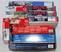 11 boxed mixed scale Airfix, Sword, Eduard and other mixed aircraft kits to include a Vickers