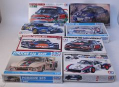 Eight various boxed Tamiya, Hasegawa and Esci 1.24 scale Classic Car and high speed racing kits to