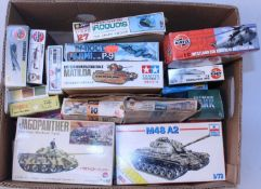 One box containing 20 various boxed plastic military kits and 1/43 scale diecast mixed