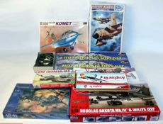 Two boxes containing a large quantity of mixed plastic military and aircraft related kits, some