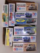 Nine various boxed Tamiya, Gunze Sangyo, and Studio 27 mixed classic car and high speed racing kits,