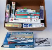 One box containing 13 various mixed scale and mixed subject plastic aircraft and saloon kits,