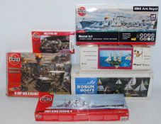 One box containing a quantity of various ship and military related wooden and plastic kits to