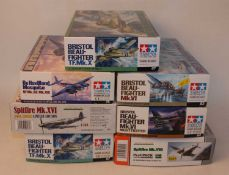 Seven various boxed as issued Tamiya and Eduard and Profipack 1/48 scale aircraft plastic kit