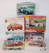 Seven various mixed manufacture 1/24 scale plastic race car kits to include Fujimi, Esci, Revell and