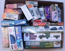 22 various mixed scale plastic military aircraft and vehicle kits, all in original boxes, mixed