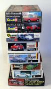 Eight various boxed 1/24 scale plastic racing car and classic car kits to include a Fujimi Porsche