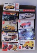 Nine various boxed monogram and AMT 1/25 scale American and TV related saloon and commercial vehicle