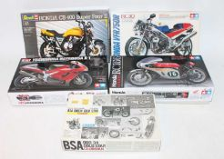 Five various boxed Tamiya, Revell, and Gunze Sangyo 1/12 scale plastic and white metal motorcycle