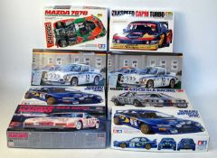 Eight various boxed Tamiya, Hasegawa, and Fujimi 1/24 scale mixed racing car and World Rally