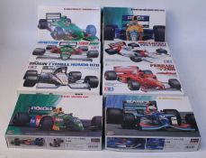 Eight various boxed Tamiya and Hasegawa 1/24 scale Formula One racing plastic car kits to include