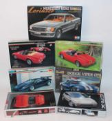 Seven various boxed 1/24 scale plastic high speed racing and sports car kits, all appear as issued