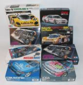 Eight various boxed 1/24 scale Tamiya, Hasegawa and Rosso high speed racing and sports car kits, all