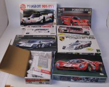 Eight various boxed 1/24 scale plastic and white metal racing car kits to include Studio 27, Tamiya,