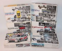 Six various boxed Gunze Sangyo mixed 1/24 scale plastic and white metal car kits to include a