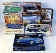 Eight various boxed 1/24 scale Tamiya and Ebbro/Heller plastic commercial vehicle and saloon kits to