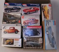 Ten various boxed AMT, Revell, Monogram, and other 1/25 scale mixed commercial and classic car