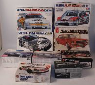 Eight various boxed mixed scale Tamiya AMT Mini Craft and Airfix Classic Car saloons, and sports car