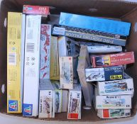 One box containing 19 mixed scale plastic military aircraft kits, mixed manufactures, examples to