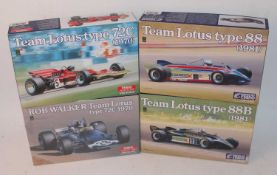 An Ebbro 1/24 scale plastic kit Formula One race car group, to include a Team Lotus type 72C race
