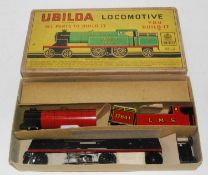 A Chad Valley Ubilda locomotive housed in the original labelled card box, appears complete with