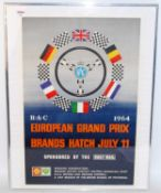 An original 1960s Brands Hatch RAC European Grand Prix race poster, as sponsored by The Daily