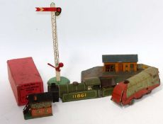 Hornby early home signal (G), box only for No. 1 side tipping wagon (F-G), Chad Valley clockwork '