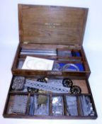 Early Meccano No. 6 wooden chest containing good quantity nickel items (G)