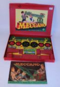 Meccano 1950s outfit No. 4, restrung, parts (VG) complete with manual