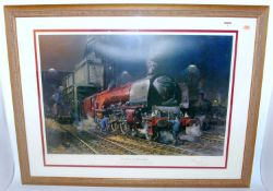 "A framed and glazed Cuneo print ' Duchess of Hamilton', an engine shed scene, landscape, 39""x29"""