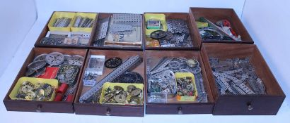 Multidrawer well-made wooden cabinet containing comprehensive collection nickel Meccano, overall (