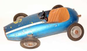 A mid 20th century child's pedal car in the form of a Maserati style 250F race car, finished in
