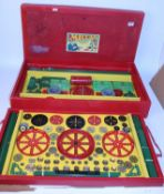 1950s Meccano No. 9A accessory outfit complete but large amount of red and green parts resprayed