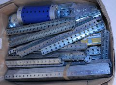 "Box of large quantity zinc plated Meccano parts mainly angle girders 7½"", 9½"", and 12½"" (A-G)"