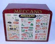 Meccano Dealers six-drawer cabinet 1950s maroon, complete with original header board and display