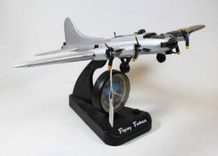 An ASA Flying Fortress quartz alarm clock, in the form of a military aircraft, h.22cmCondition