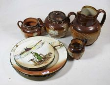 A small collection of Royal Doulton harvest ware, to include a silver collared teapot, together with