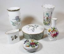 A box containing a collection of ceramics, to include a Wedgwood Wild Strawberry pattern rose bowl