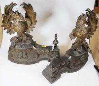 A pair of 19th century French gilt metal chenet, each surmounted by a bird, 43cm highCondition