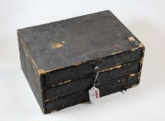 A Dutch desk-top chest, containing three long drawers, each drawer inscribed Carp's Torch, w.31cm