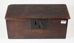 A late 18th century oak candle box, with iron lock plate, of six plank construction, 40cm
