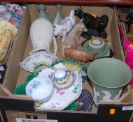 A box containing a collection of various ceramics, to include a Wedgwood green jasper vase, a Nao